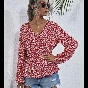 Floral surplice front Peplum blouse